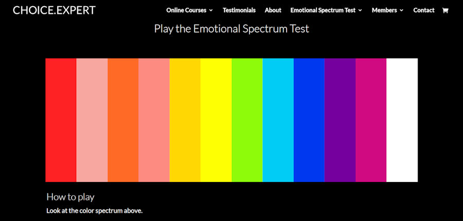 Register on www.choice.expert and try the Emotional Spectrum Test ~ color is the language of the emotions